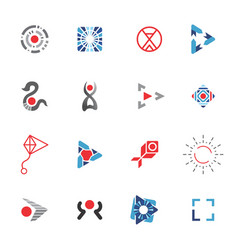 logo template red and blue icons set vector image