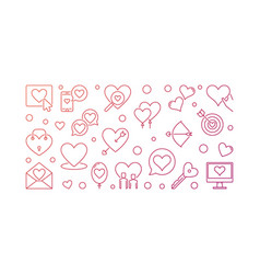 Love and romance colored outline banner vector