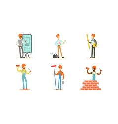 Male builders and engineers with tools vector