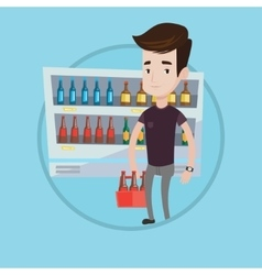 Man with pack of beer at supermarket vector