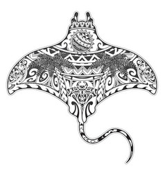 Manta ray tattoo with ethnic elements vector
