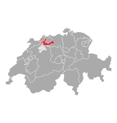 Map of Switzerland with flag of Solothurn vector image