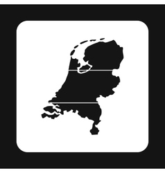 Map of the Netherlands icon simple style vector image