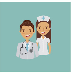 Medical doctor and nurse vector