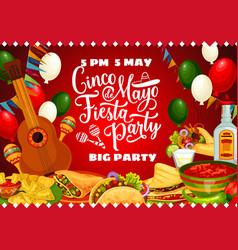 Mexican food drink guitar cinco de mayo party vector