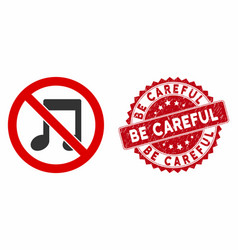 No melody icon with scratched be careful stamp vector