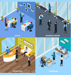 office people isometric design concept vector image