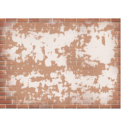 Old red brick wall with peeling plaster vector