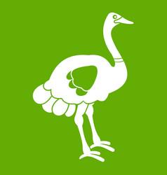 Ostrich icon green vector