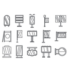 outdoor advertising building icons set outline vector image