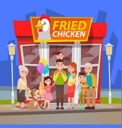 people near chicken shop in city fried hen vector image
