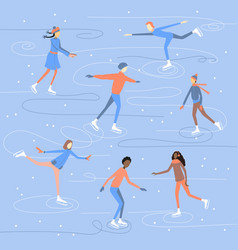 People skating and having fun on ice rink winter vector