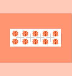 pills in plastic strip package vector image