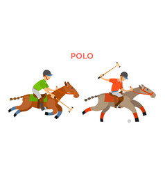 Polo sports people with helmets riding horses vector