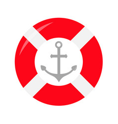 Red lifebuoy ring ship anchor icon life buoy vector