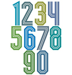 Retro stripe geometric numbers vector image