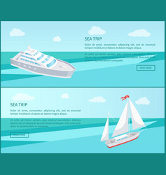 Sea trip web posters passenger liner marine travel vector