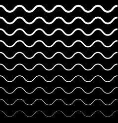 Seamless pattern black and white wavy lines vector