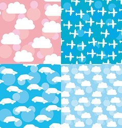 Seamless pattern set sunset sunrise sky clouds vector image