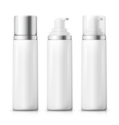 Set foam bottles with silver plastic caps vector