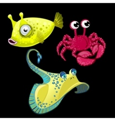 Set of three fish Stingray crab and cute bigeye vector