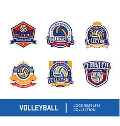 set volleyball badge design logo emblem vector image