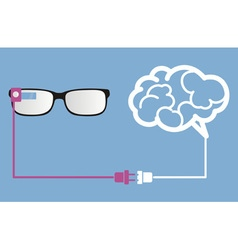 Smart glasses connect to brain vector