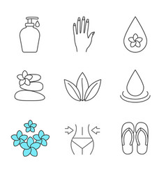 Spa salon linear icons set vector