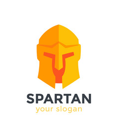 Spartan helmet logo element in flat style vector