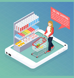 super market online isometric composition vector image