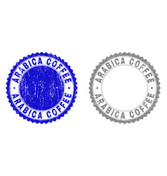 Textured arabica coffee scratched stamps vector