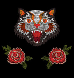 Tiger cat with roses vector