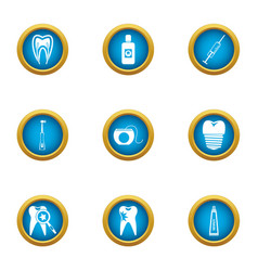 toothless icons set flat style vector image