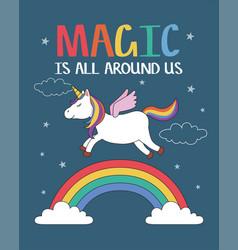 unicorn flying over magic rainbow vector image