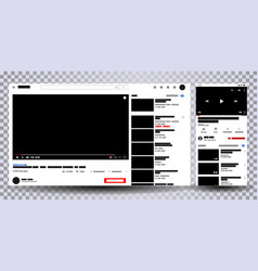video player web site mock up vector image