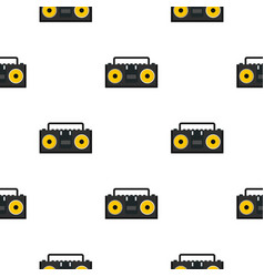 Vintage tape recorder for audio cassettes pattern vector