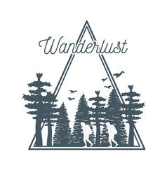 Wanderlust label with forest scene vector