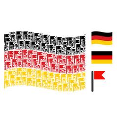 Waving germany flag mosaic of flag items vector