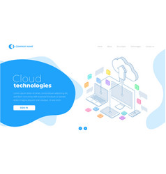 web page design templates cloud computing concept vector image