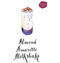 glass of almond amaretto milkshake vector image vector image
