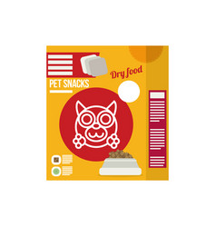 pet snacks in pouches icon of dog dry food icon vector image