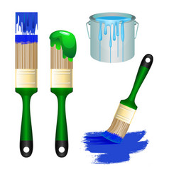 thick brushes and bucket full of paint set vector image vector image