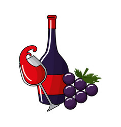 bottles and glass wine and grape fruit vector image