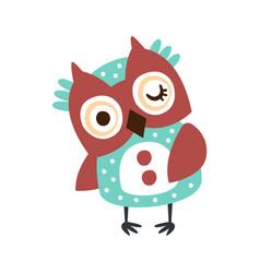 cute cartoon owl bird winking colorful character vector image vector image
