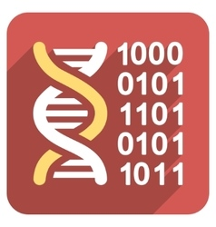 Genetical Code Flat Rounded Square Icon with Long vector image vector image