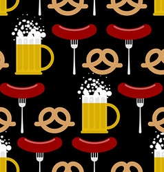 Seamless pattern beer and pretzels sausage vector image