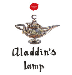 aladdins magic lamp with genie vector image