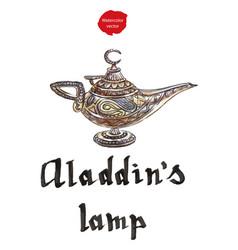 aladdins magic lamp with genie vector image