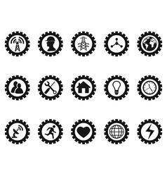 black gear concept icons set vector image vector image