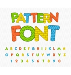 Colorful comic font Funny alphabet with different vector image vector image